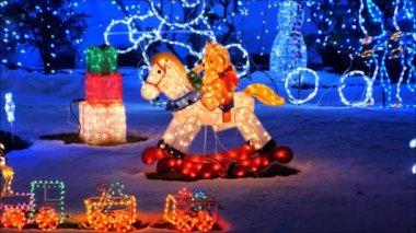 Teddybear and rocking horse — Stock Video