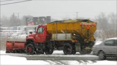Snowplow Sander Driving — Stock Video