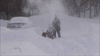 Snowstorm Snowblower Removal — Stock Video