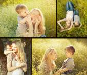 Collage of baby boy and his mother plaing in the park. Happy fam — Stock Photo