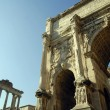 The ancient Forum with its temples and monuments is in the middle of the city of Rome Italy — Stock Photo #55242909