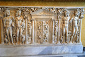 Roman sarcophagus in a museum in Rome Italy — Stock Photo