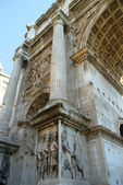 The ancient Forum with its temples and monuments is in the middle of the city of Rome Italy — Fotografia Stock