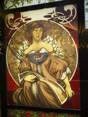 Art Nouveau glass panel in hotel in Central Rome Italy — Stock Photo