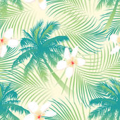 Tropical palm tree with flowers seamless pattern — Stock Vector