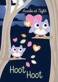Awake at Night, Hoot Hoot — Stock Vector