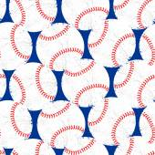 Baseballs with distressed texture seamless pattern — Stock Vector