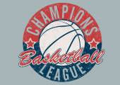 Basketball Champions league distressed print — Vetor de Stock