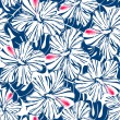 Blue tropical hibiscus and palm seamless pattern — Stock Vector #74323431