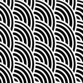 Black and white curved lines in a seamless pattern — Stock Vector