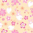 Little birds with flowers seamless pattern — Stock Vector #74334259