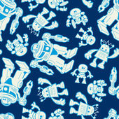 Robot force seamless pattern on a navy background — Vector de stock