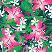 Tropical hibiscus floral 2 seamless pattern — Stock Vector