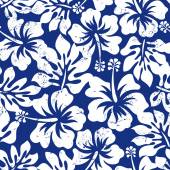 Tropical weathered hibiscus seamless pattern — Stock Vector