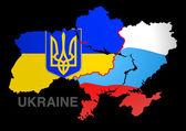 Ukraine map UKRAINE V RUSSIA — Stock Vector