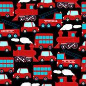Enfants de transport rouge mignon dans un modèle sans couture — Vecteur