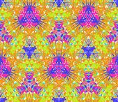 Seamless pattern composed of bright color abstract elements located on white background — Vector de stock