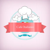 Cafe logo icon with toque in the clouds,vector illustration — Stock Vector