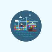 Icon with colored cargo container ship and cargo crane, vector illustration — Stock Vector