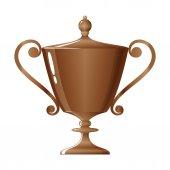 Cup of winner, bronzed trophy cup, vector illustration — Stock Vector