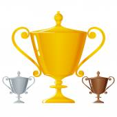 Cups of winners, golden, silver and bronzed trophy cups — Stock Vector