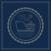 Marine emblem with cargo ship — Stock Vector
