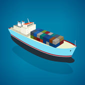 Isometric container ship on the water — Stock Vector