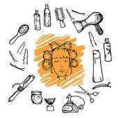 Hand drawn illustration - Hairdressing tools (scissors, combs, styling). Vector — Stock Vector