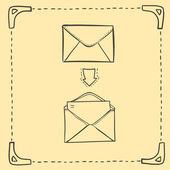 Hand drawn sketch illustration - letter and envelope — Stock Vector