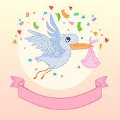 Hand drawn illustration - Stork brought newborn. Vector — Stock Vector