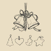Vintage hand-drawing background with gift box. Vector illustration. — Vector de stock