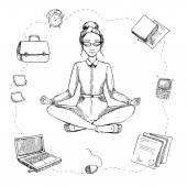 Business yoga. Girl is in the lotus position. Around are compute — Stock Vector