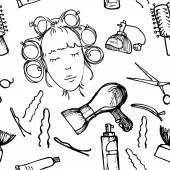 Hand drawn illustration - Hairdressing tools. Pattern. — Stock Vector