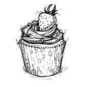 Hand getrokken vectorillustratie - Sweet cupcake met aardbeien. — Stockvector