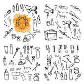 Hand drawn illustration - Hairdressing tools (scissors, combs, s — Stock Vector