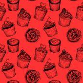 Hand drawn seamless pattern - Sweet cupcakes. Sketch background. — 图库矢量图片