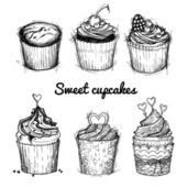 Hand drawn vector illustration - Sweet cupcakes. St. Valentines — Vecteur