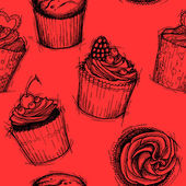 Hand drawn seamless pattern - Sweet cupcakes. Sketch background. — Vecteur