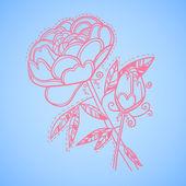 Hand drawn vector illustration. Decorative flower. Line art — Stock Vector