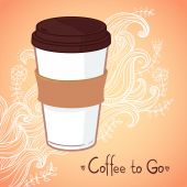 Hand drawn vector illustration - Coffee to go. Background with w — Stock Vector