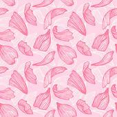 Hand drawn vector seamless pattern - rose petals — Vetor de Stock