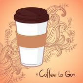 Hand-drawn vector illustration - Coffee to go. Background with w — Vetor de Stock