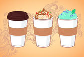 Hand-drawn vector illustration - Coffee to go and other sweet de — Vector de stock