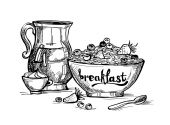Hand drawn illustration - Breakfast with milk, fruit and oatmeal — 图库矢量图片