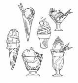 Hand drawn vector illustration - Collection of ice cream. — Stock Vector