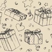 Hand drawn vector illustration - Magic gift boxes. Vintage.Seaml — Stock Vector