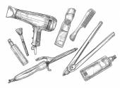 Hand-drawn vector illustration - Set of hairdresser tools (barbe — Stock Vector