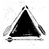 Hand drawn vector vintage texture. Decorative arrows with trangl — Stock Vector
