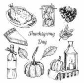 Hand drawn vector illustration - Thanksgiving day. Design elemen — Stock Vector