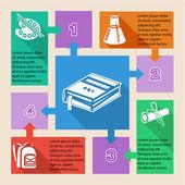 Geri okul infographic elemanları — Stok Vektör